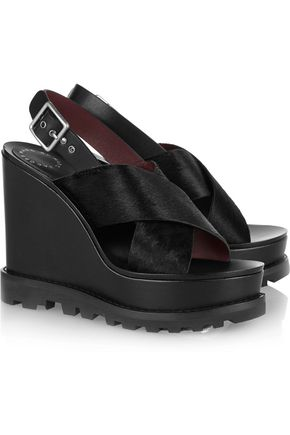 MARC BY MARC JACOBS Irving calf hair and leather wedge sandals