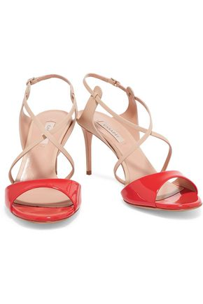 CASADEI Two-tone patent and smooth leather sandals