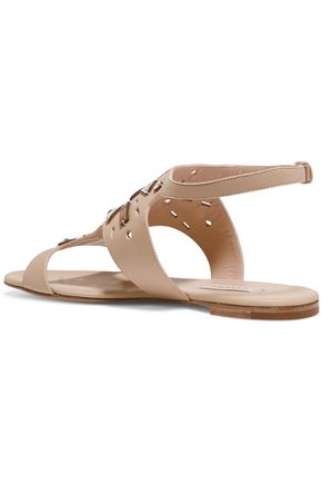 CASADEI Embellished laser-cut leather sandals