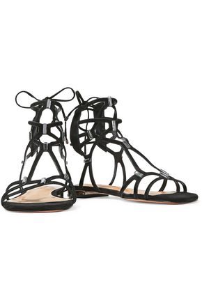 SCHUTZ Zimi embellished cutout suede sandals