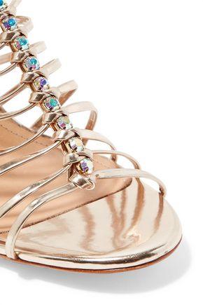 SCHUTZ Shira metallic embellished patent-leather sandals