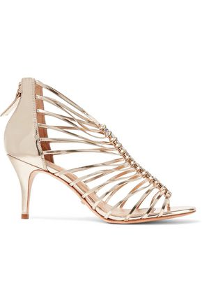 SCHUTZ Shira metallic embellished patent-leather sandals