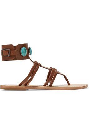 SCHUTZ Amarine embellished braided leather sandals