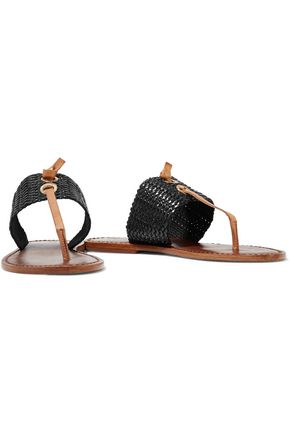 SCHUTZ Riley woven cord and leather slides