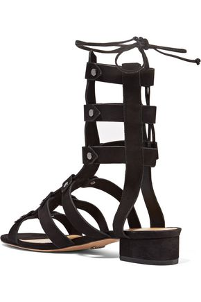 SCHUTZ Rae lace-up studded nubuck sandals