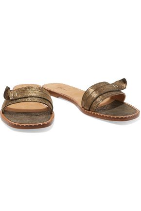 TOMAS MAIER Metallic glossed textured-leather sandals