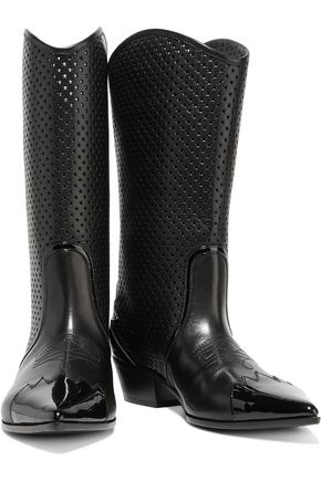 TOMAS MAIER Patent-trimmed laser-cut leather boots
