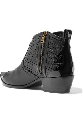 TOMAS MAIER Laser-cut and patent-leather ankle boots
