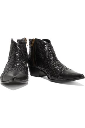 TOMAS MAIER Paneled glittered leather ankle boots