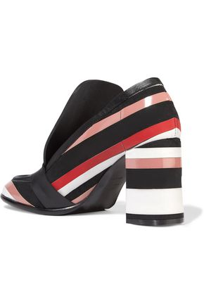 MSGM Paneled striped leather pumps