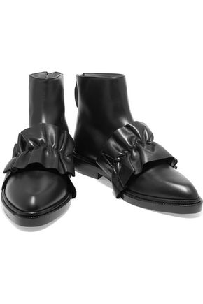 MSGM Ruffled leather ankle boots