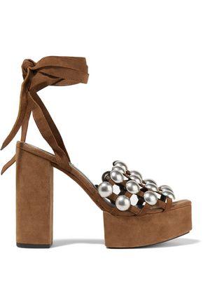 ALEXANDER WANG Alys embellished suede platform sandals