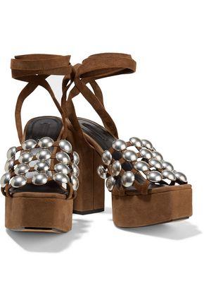 ALEXANDER WANG Studded suede platform sandals