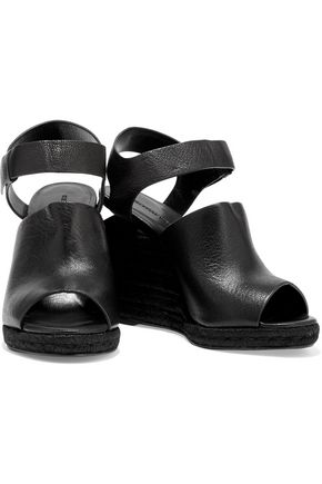 ALEXANDER WANG Tori textured-leather wedge sandals