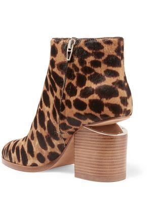 ALEXANDER WANG Gabi cutout leopard-print calf hair ankle boots