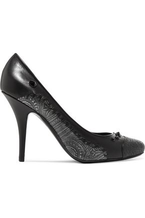 GIVENCHY Paneled studded leather pumps