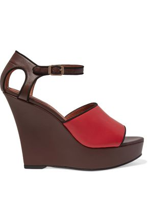 GIVENCHY Cutout leather wedge sandals