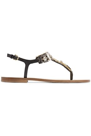 SALVATORE FERRAGAMO Embellished snake-effect leather sandals