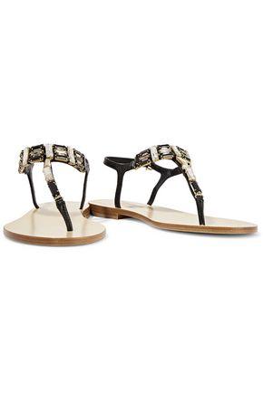 SALVATORE FERRAGAMO Embellished snake-effect leather sandals