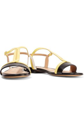 SALVATORE FERRAGAMO Paneled patent-leather and smooth leather sandals