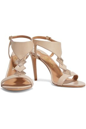 SALVATORE FERRAGAMO Paneled snake-effect and smooth leather sandals