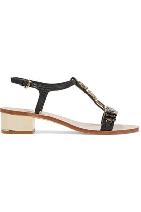 SALVATORE FERRAGAMO Crystal-embellished textured-leather sandals