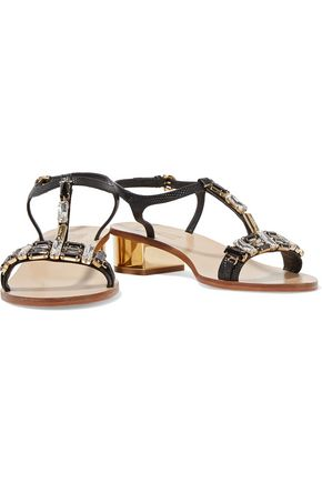 SALVATORE FERRAGAMO Crystal-embellished textured-leather sandals
