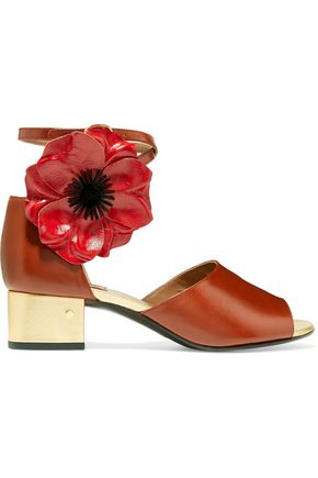 LAURENCE DACADE Mimosa appliquéd leather sandals