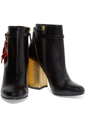 LAURENCE DACADE Mirabelle appliquéd leather ankle boots
