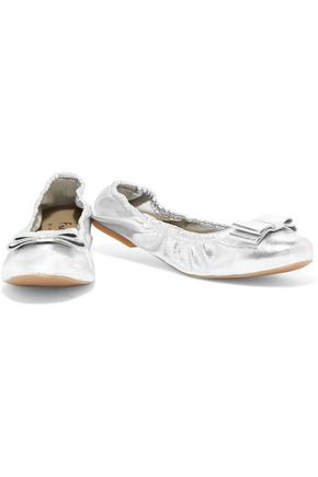 FRENCH SOLE Bow-embellished metallic leather ballet flats