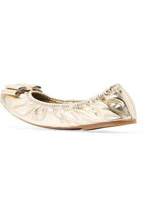 FRENCH SOLE Bow-embellished metallic textured-leather ballet flats