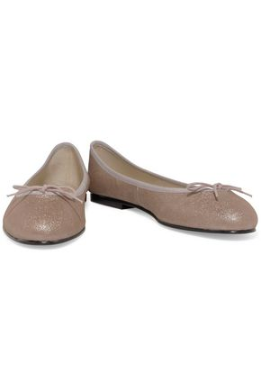 FRENCH SOLE India bow-embellished glittered leather ballet flats