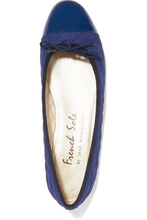 FRENCH SOLE Bow-embellished quilted nubuck and patent-leather ballet flats