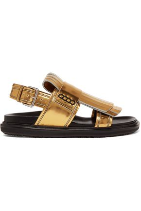MARNI Fringed metallic leather sandals