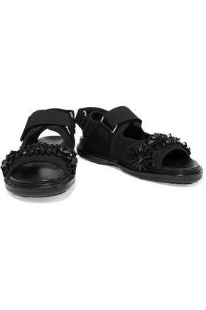 MARNI Mesh-trimmed embellished twill sandals