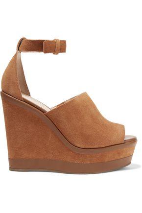 SCHUTZ Morlen leather-trimmed suede wedge sandals