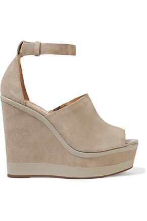 Morlen Leather Trimmed Suede Wedge Sandals by Schutz