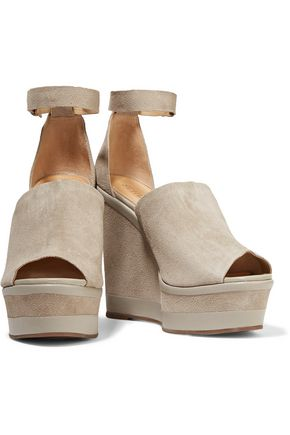 SCHUTZ Morlen leather-trimmed suede wedge sandals