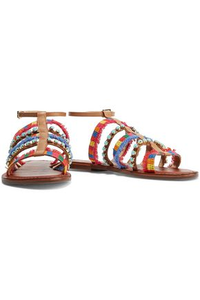 SCHUTZ Kelina embroidered embellished sandals