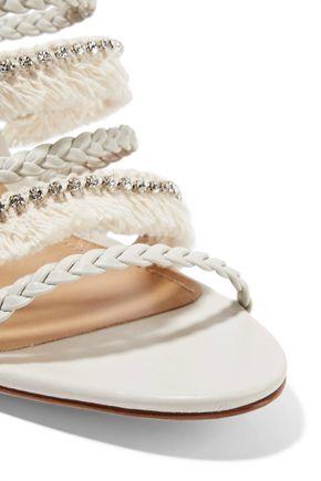 SCHUTZ Milina fringed crystal-embellished braided leather sandals
