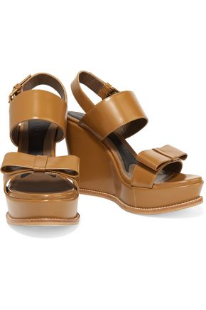 MARNI Bow-embellished leather wedges