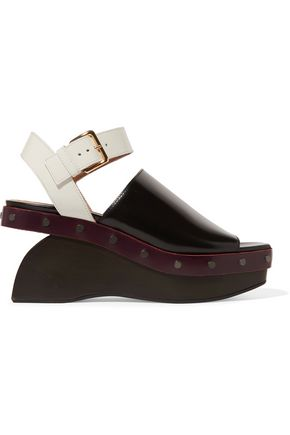 MARNI Studded color-block leather wedges