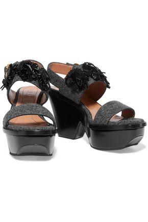 MARNI Embellished felt platform sandals