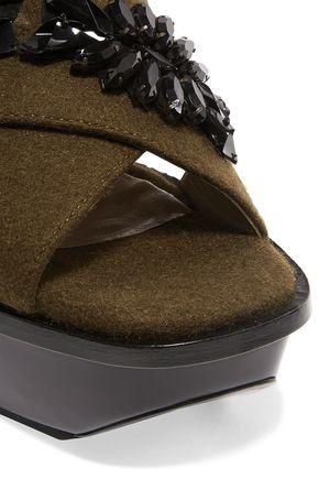 MARNI Crystal-embellished felt sandals