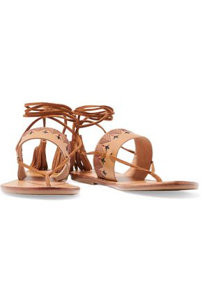 SOLUDOS Tasseled embroidered leather sandals