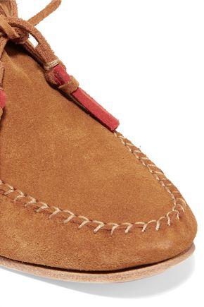SOLUDOS Tassel-trimmed nubuck moccasin ankle boots