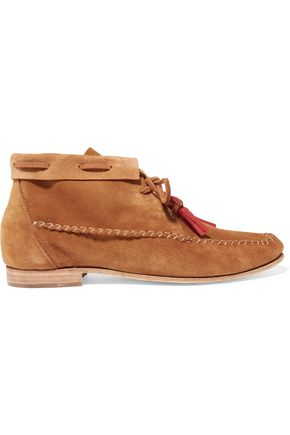 SOLUDOS Tassel-trimmed nubuck moccasin ankle boots
