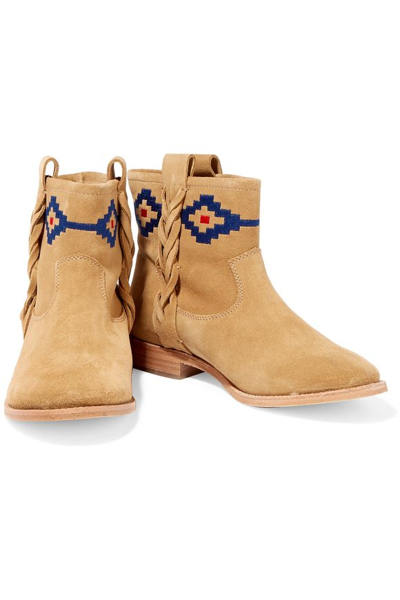 Embroidered nubuck ankle boots | SOLUDOS | Sale up to 70% off | THE OUTNET
