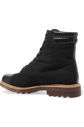 ROBERT CLERGERIE Leather-trimmed canvas ankle boots