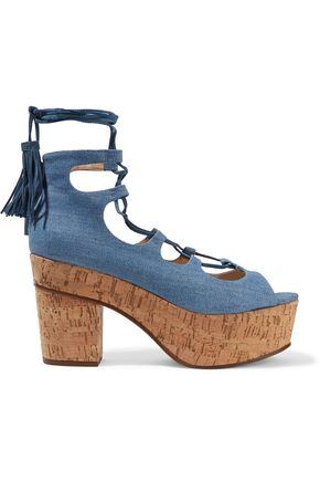 SCHUTZ Minilila lace-up denim platform sandals